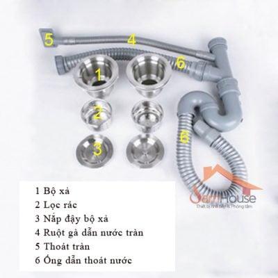 Bộ phụ kiện xi fong đầy đủ-Lắp đặt bồn rửa chén1234