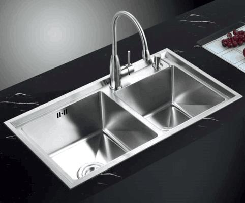 Chậu đúc 2 hộc lệch E60 và vòi rửa chén nóng lạnh Q641