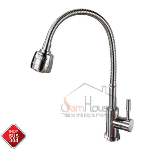 Vòi rửa chén lạnh GL-505 lò xo tiện dụng có chỉnh lực nước-inox 304
